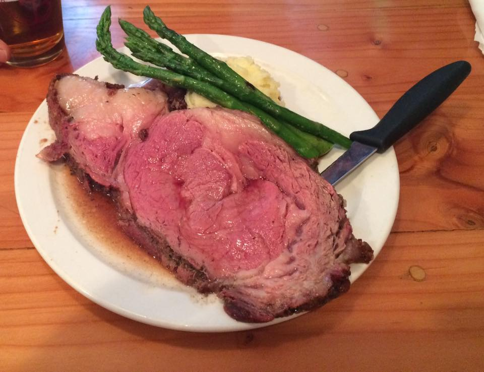 Prime Rib garlic mashers and grilled asparagus